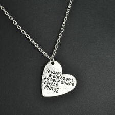 Love Heart Pendants Teachers Necklace Gifts Charms Jewelry Silver Tone Chain JT