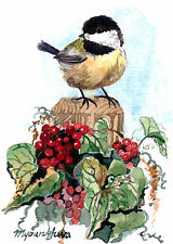 ACEO Limited Edition- Chickadee and berry vines, Bird art print, Home deco idea