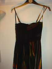 George ladies maxi strappy dress multi  size 8 black multi