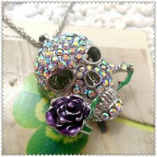 Betsey Johnson  Crystal Skull head Pendant charm Sweater chain necklace gift Q