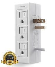 Grounded 6 Outlet Sliding Safety Cover Power Strip Indoor Wall Tap [ETL Listed]