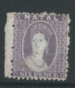 NATAL QV 1863 SG24x 6d violet - perf 121/2 - wmk CC reversed - no gum. Cat £90