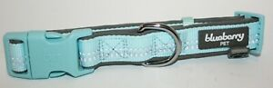 Blueberry Pet Reflective Pastel Baby Blue Neoprene Padded Dog Collar - Small