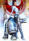 ACEO ATC Sketch Card - Star Wars Princess Leia and R2-D2