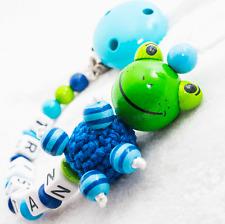 Schnullerkette mit Namen ★ FROSCH ★ Baby Junge Mädchen ★ Nuckelkette blau Holz