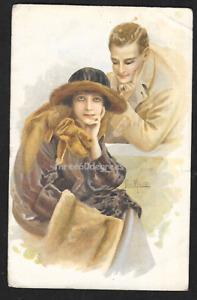 WW1 Italian Artist Postcard: Jan Marco. Glamour Couple. Passed by Censor 1918
