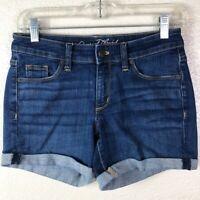 Universal Thread Women's 0 Waist 25 Dark Wash Stretchy Cuff Mid Rise Jean Shorts
