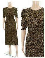 ex M&S Holly Willoughby Animal Print Ruched Sleeve Midi Tea Dress