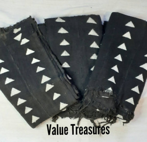 Authentic Black and White African Mudcloth Fabric: Handwoven Made in Mali