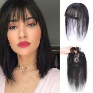 100% Human Hair Topper Toupee Closure Clip in Top Hairpiece with Air Bangs Thin