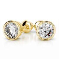 Stunning 1/2 Cts Round Brilliant Cut Diamonds Bezel Stud Earrings In 18K Gold