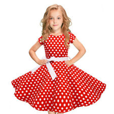 Kids Girls Vintage Dress Polka Dot Princess Dress Swing Rockabilly Party Dresses