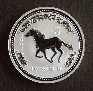 2002 Australian Lunar 1 oz Chinese Zodiac .999 Silver Coin Year of the Horse