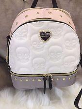 NEW Betsey Johnson SKULL Heart Studded Backpack School Bag  Cream Blush Skeleton