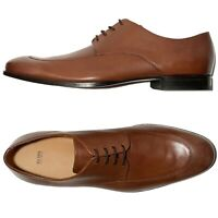 NIB Hugo Boss Moccasin Toe Men's Brown Leather Dress Derby Welted Shoes Lace-up