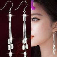 Women Fashion Silver Plated Drops Long Tassels Hook Dangle Earrings Jewelry  BH