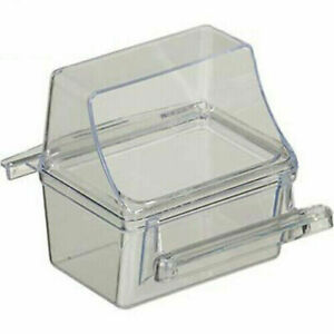 Feeder Seed Water Dish Bird Cage Crystal Clear Plastic Feed Cup