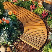 2 Piece Roll-Out Wooden Straight & Curved Pathways Set Garden Outdoor Home Decor