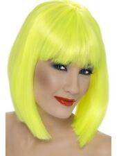 NEON YELLOW GLAM WIG LADIES FANCY DRESS COSTUME ACCESSORY SHORT BOB WIG