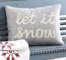 LET IT SNOW PILLOW : CHRISTMAS HOLIDAY SAYING GREY TOSS CUSHION