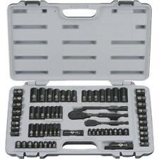 "(1)-Stanley 69-Piece 1/4"" & 3/8"" Drive Black Chrome SAE/Metric Socket Set 92-824"