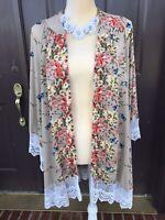 Umgee Floral Print Long Kimono