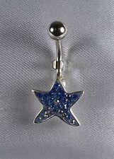 Piercing de nombril Etoile de mer Crystal Bleu montés sur argent tige 316l
