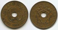 H0379 - Rhodesien & Nyasaland One Penny 1961 KM#2 XF Elefanten Rhodesia
