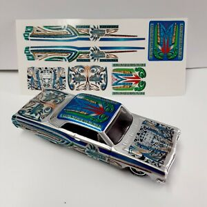 HOT WHEELS 64 CHEVY IMPALA LOWRIDER WATER SLIDE DECALS BLUE NEW EASY TO SET