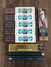 Vintage Lot of Drafting Graphite Leads 2H 4H 5H & TEC Pencil, Koh-I-Noor Venus