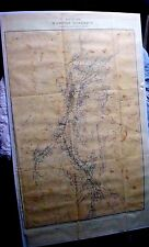 ANTIQUE  MAP WASHOE DISTRICT MINING CLAIMS MINES VIRGINIA CITY GOLD HILL NV 1881