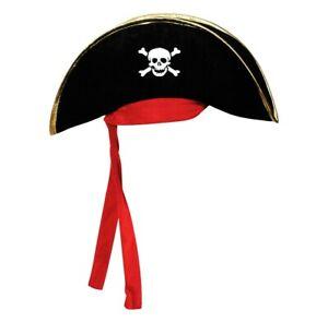 Adult Pirate Hat Crossbone Skull Halloween Costume Fancy Dress Sparrow Accessory
