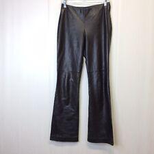 Ann Taylor Women's Lined Black Boot Leather Pants Side Zip Sz 4