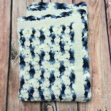 Handmade Crocheted Country Blues & Aran Baby Boy Blanket Afghan