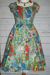 NEW NEVER WORN FRIDA KAHLO VINTAGE INSPIRED ROCKABILLY TEA DRESS MEDIUM 12-14