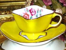 OCCUPIED JAPAN Tea Cup and Saucer YELLOW PAINTED ROSES Square Demitasse Teacup