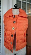 Juicy Couture Puffer Vest Quilted Down Snap-Front Orange Sz Small BP6