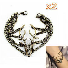 Retro Full Diamante Multilayer Mysterious Deer Head Vintage Bracelet Bronze HE