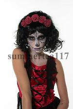 Mexican Day of The Dead Wig Adult Dia de Los Muertos Sugar Skull Look H0304