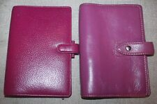 Lot of 2 Filofax Raspberry Finsbury & Fuchsia Malden Leather Organizing Planners