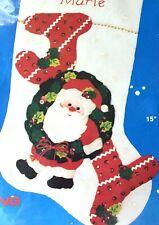 "Joyful Santa in Wreath 15"":Christmas Stocking Kit, Applique Felt Sequins 95143"