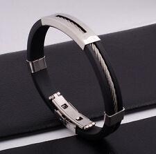"""Unisex Men Women's Stainless Steel Rubber Silicone Bracelet Black 8"""" G19"""