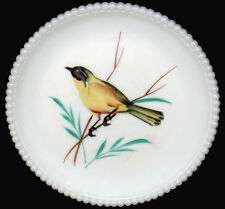"""Vintage Westmoreland Milk Glass With HP Yellow Warbler 7.5""""d Beaded Edge Plate"""