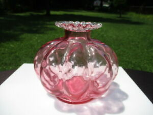 1930's FENTON CRANBERRY ROSE PINK CREST MELON RIB PERFUME BOTTLE / CANDLE HOLDER