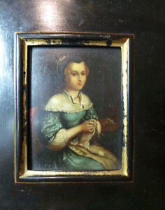 17th Century Miniature Dutch Knitting Blue Girl Oil Copper Painting Gerrit Dou?
