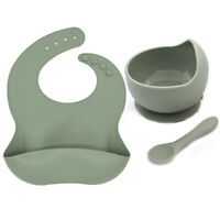 3Pcs/Set Silicone Baby Bibs Feeding Tableware Toddler + Spoon + Bowl BPA FREE