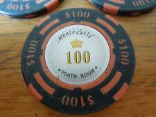 $100 Poker Chip Golf Ball Marker  - Monte Carlo - Heavy 14g Chip