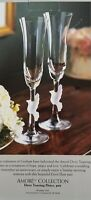 Gorham Amore Crystal Champagne Flutes Frosted Dove New in Box
