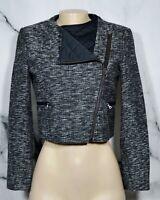 ANNE KLEIN Black White Tweed Cropped Motorcycle Jacket Blazer 4 Quilted Accent