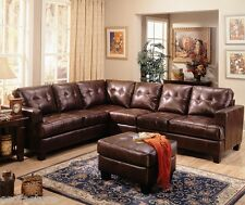 Contemporary Sectional With Armless Chair In Chocolate Bonded Leather Couch Home
